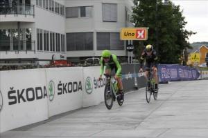 Kristoffer og Marius ved målgang på en sterk 5. plass