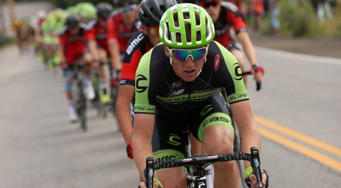 STEAMBOAT SPRINGS, CO - AUGUST 17: Kristoffer Skjerping of Norway riding for Cannondale-Garmin drives the peloton during Stage One of the 2015 USA Pro Cycling Challenge on August 17, 2015 in Steamboat Springs, Colorado.   Chris Graythen/Getty Images/AFP == FOR NEWSPAPERS, INTERNET, TELCOS & TELEVISION USE ONLY ==
